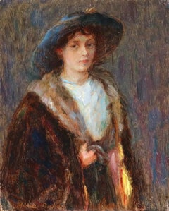 Portrait of Nelly - 19th Century Oil, Girl in Robe & Hat by Marie Duhem