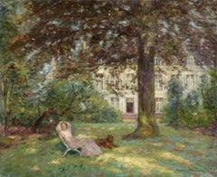 """""""Resting"""" Duhem C.19th French Impressionist Figure & Dog in Garden Landscape"""