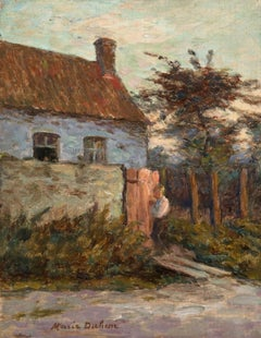 Returning Home - Impressionist Oil, Figure in Landscape by Marie Duhem