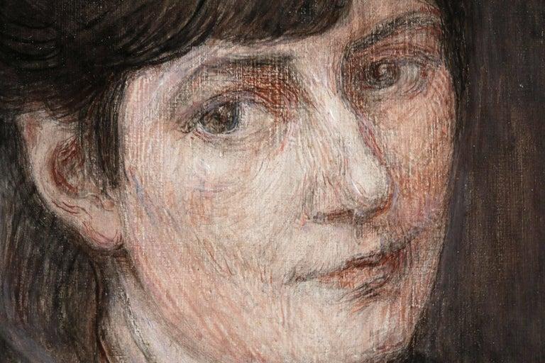 Self Portrait - Black Portrait Painting by Marie Duhem