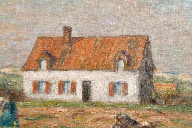 Tending the Vegetables - Impressionist Oil, Figure in Landscape by Marie Duhem 1