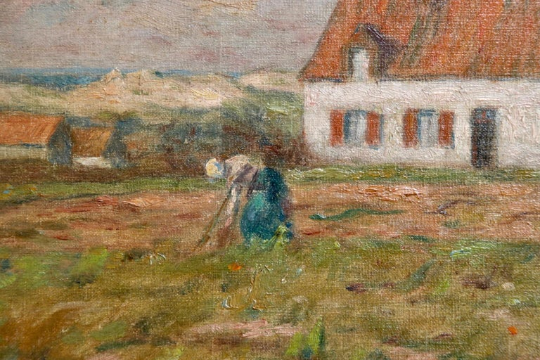 Tending the Vegetables - Impressionist Oil, Figure in Landscape by Marie Duhem 3