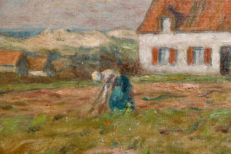 Tending the Vegetables - Impressionist Oil, Figure in Landscape by Marie Duhem 5