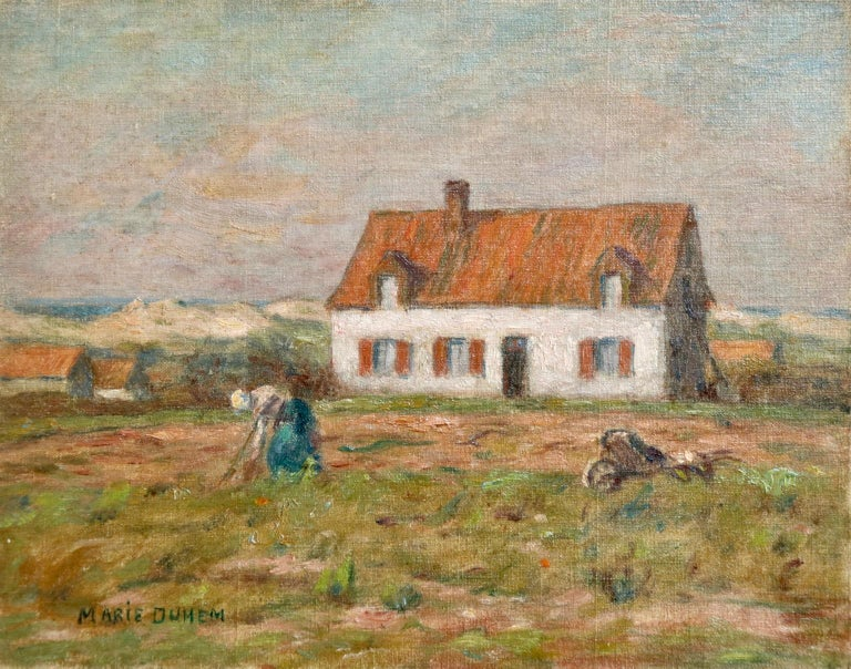 """A beautiful oil on board circa 1905 by French impressionist painter Marie Duhem depicting a woman tending to her vegetable patch in front of a house. Signed lower left.  Dimensions: Unframed: 7.5""""x9.5"""" This painting is not currently framed but a"""