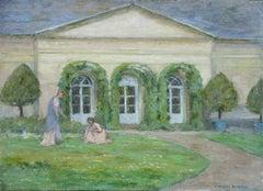 """""""The Artist's Garden"""" Duhem C.19th French Impressionist Figures in Garden"""