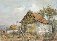 The Old Farm - 19th Century Oil, Figures on a Farm Landscape by Marie Duhem