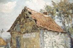 The Old Farm - 19th Century Oil, Figures on a Farm Landscape by Marie Duhem