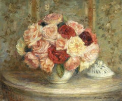 """Touffe de Roses"" Duhem C.19th French Impressionist Still Life Roses In Interior"