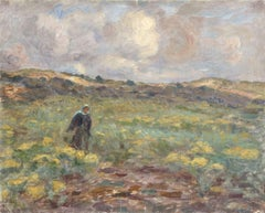 """""""Walking in the Fields"""" Duhem C.19th French Impressionist Figure in Landscape"""