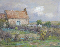 Washing Drying, Duhem 19th Century French Impressionist Cottage in a Landscape