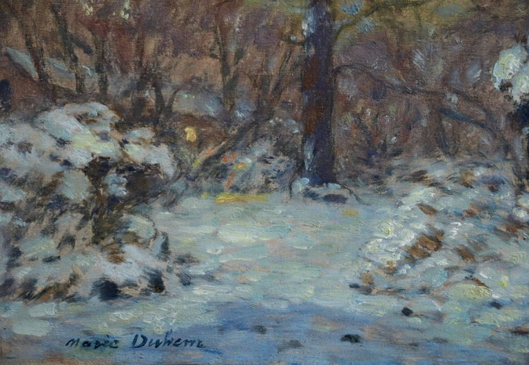 Winter Flowers in Snow - Impressionist Oil, Snowy Landscape by Marie Duhem For Sale 1