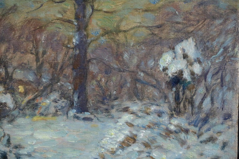 Winter Flowers in Snow - Impressionist Oil, Snowy Landscape by Marie Duhem For Sale 2