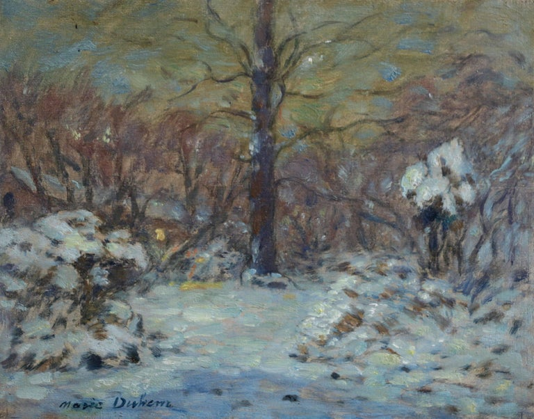 A lovely oil on panel circa 1910 by French Impressionist painter Marie Duhem depicting a garden under a blanket of snow. The use to coloured to demonstrate the last light reflecting off the snow is beautiful.   Signature: Signed lower left.