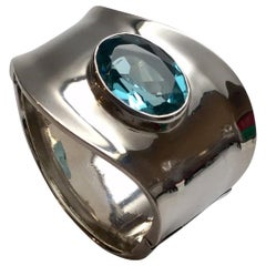Marie Elena Munoz MEM Taxco Sterling Silver Blue Topaz Clamper Bracelet