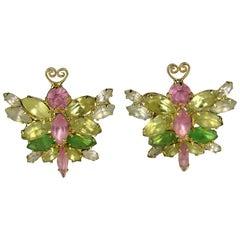 Marie Ferra Pastel Butterfly Earrings Never Worn 1990s