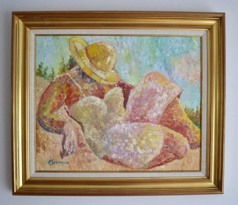 Very colourful oil on canvas from well known French artist & illustrator Marie-Helene Mouyon who has exhibited in Paris. This idyllic Summer scene shows a reclining figure resting using the yellow hat to give shade from the hot afternoon sun.  Image