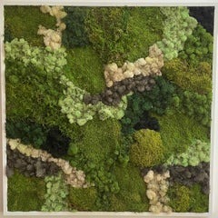 Viridi #50- framed abstract moss garden wall composition green, grey and white