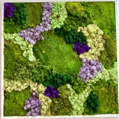 Viridi #51- framed abstract moss garden wall composition green, lilac and white
