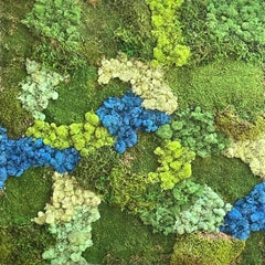 Viridi #52- framed abstract moss garden wall composition green, blue. Care free