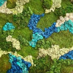 Viridi #55- framed abstract moss garden wall composition green, blue. Care free