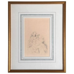 "Marie Laurencin Etching Titled ""Two Girls Kissing"""