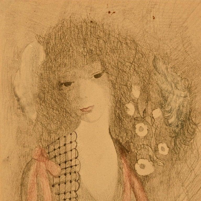 Dans les Rigieres - Original Mixed Media by Marie Laurencin - 1958 For Sale 3