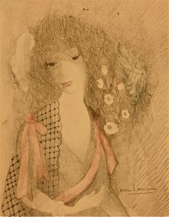 Dans les Rigieres - Original Mixed Media by Marie Laurencin - 1958