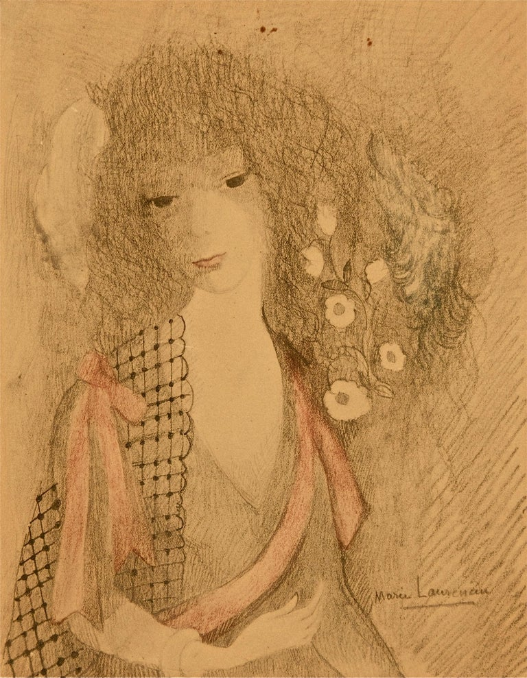 Original china ink, pencil and pastel on paper by Marie Laurencin. Signed lower right. The work comes from an important european private collection and was bought directly from the artist. Very good conditions.