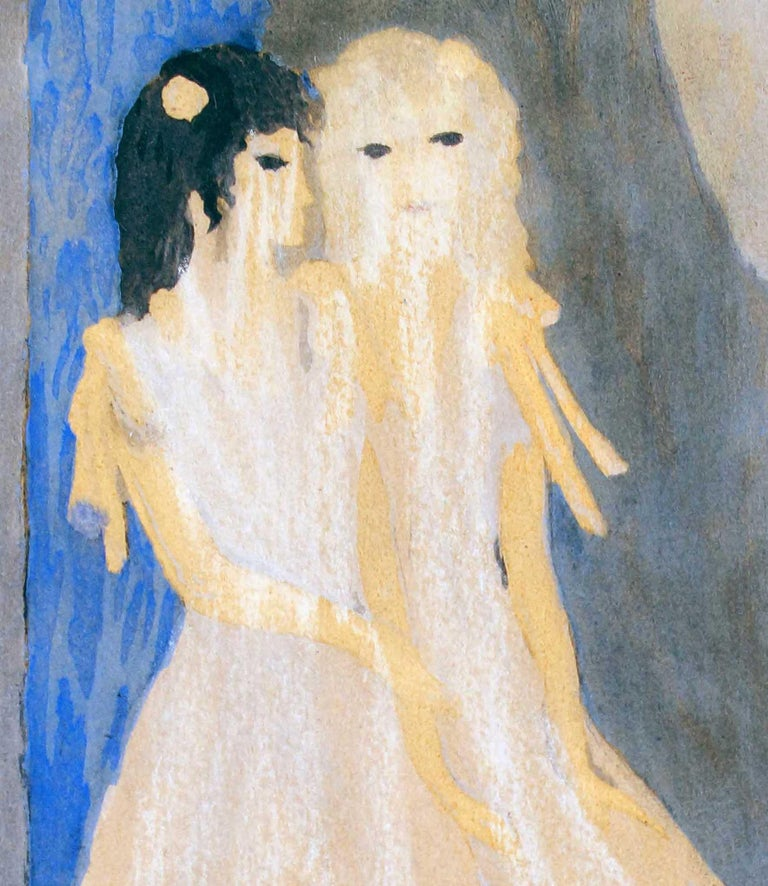 Models - Original Watercolor and Ink Drawing by Marie Laurencin - 1920 ca. For Sale 2