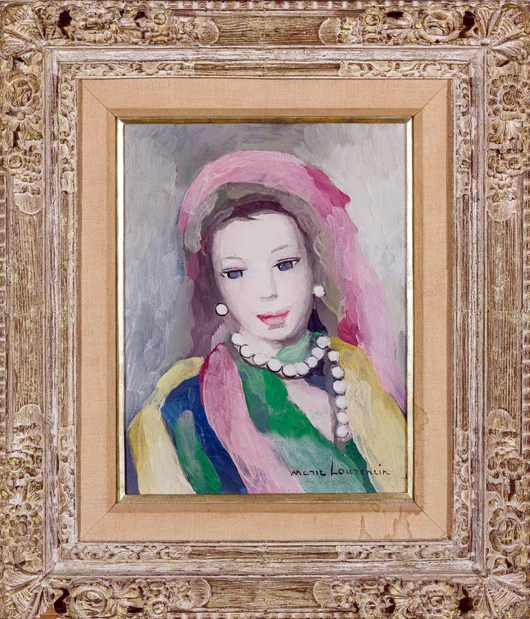 Marie Laurencin Portrait of a Young Woman Oil on Canvas Signed Lower Left - Gray Portrait Painting by Marie Laurencin