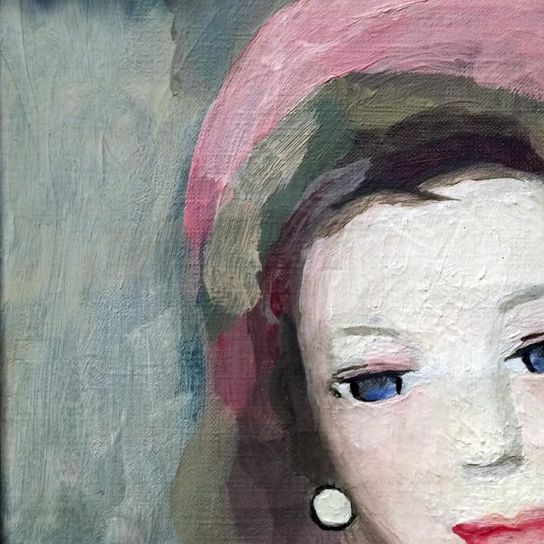 Marie Laurencin Portrait of a Young Woman Oil on Canvas Signed Lower Left For Sale 3