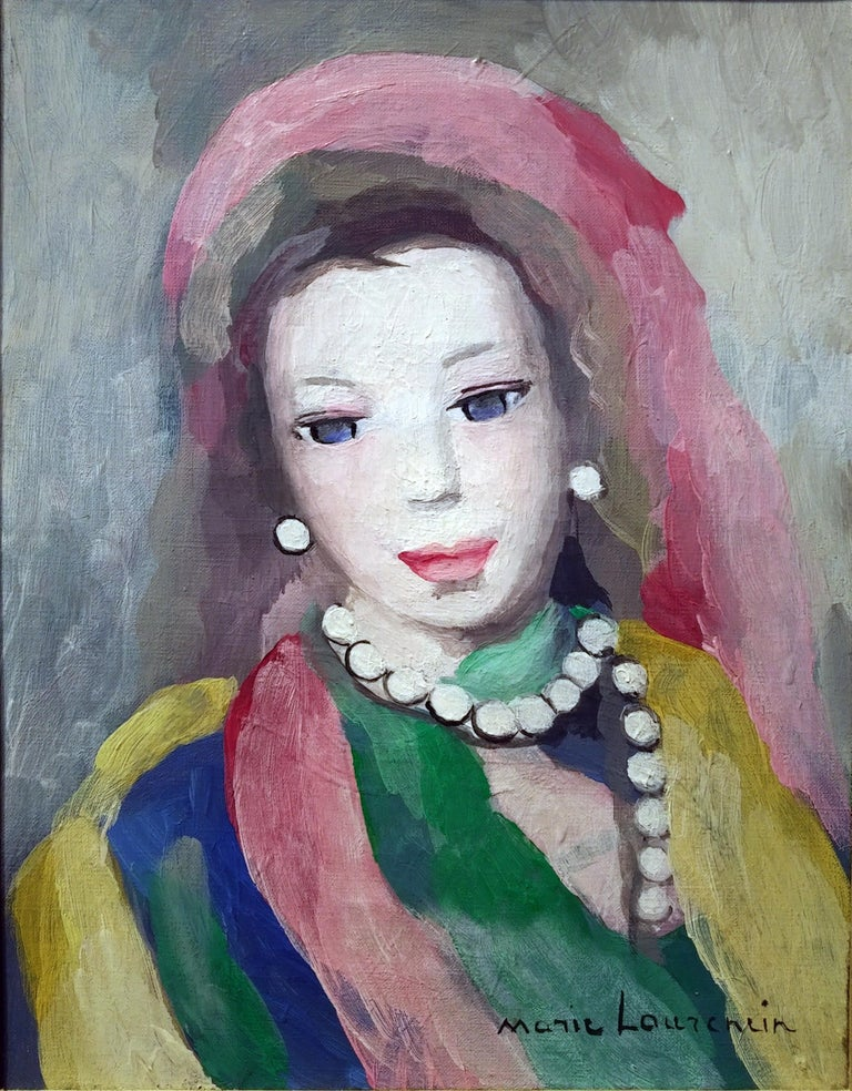 Marie Laurencin Portrait of a Young Woman Oil on Canvas Signed Lower Left - Painting by Marie Laurencin