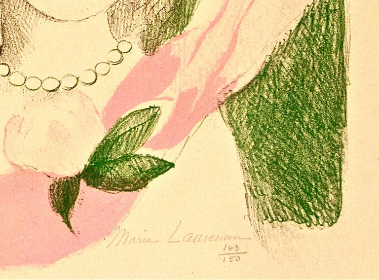 Fillette à la Rose - Original Lithographe by Marie Laurencin - 1955 For Sale 1