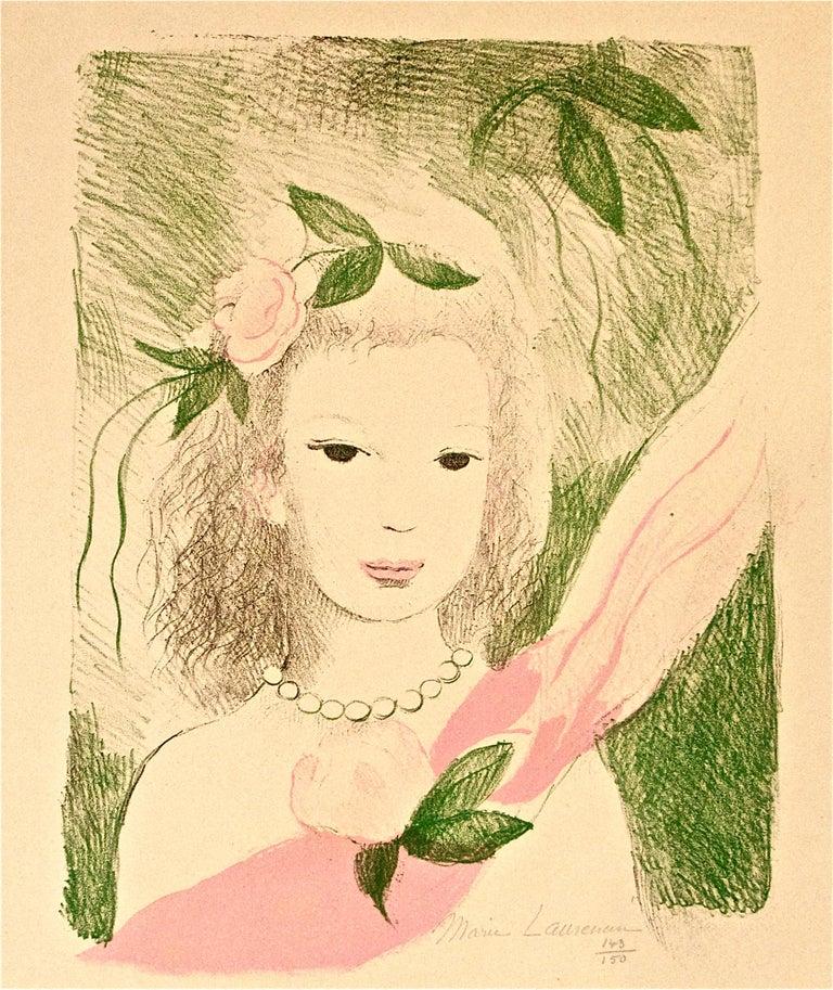Fillette à la Rose - Original Lithographe by Marie Laurencin - 1955 For Sale 2