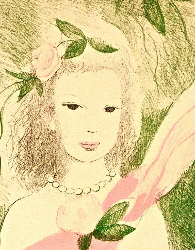 Fillette à la Rose - Original Lithographe by Marie Laurencin - 1955 For Sale 3