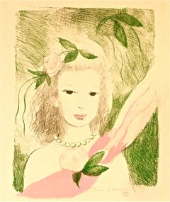 Fillette à la Rose - Original Lithographe by Marie Laurencin - 1955