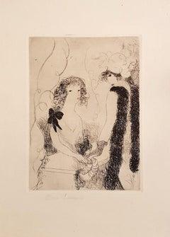 Frivolités ou la Marchande de Rubans - Original Etching by M- Laurencin - 1926