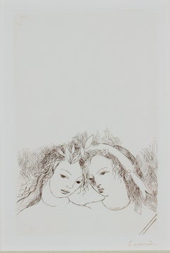"""Jean & Sappho,"" Original Portrait Sepia Etching signed by Marie Laurencin"