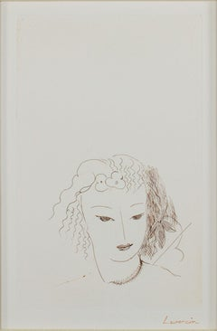 """Jeune Fille,"" Original Sepia Portrait Etching signed by Marie Laurencin"