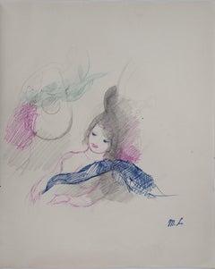 Lying girl - Original ink and pencil drawing, 1953