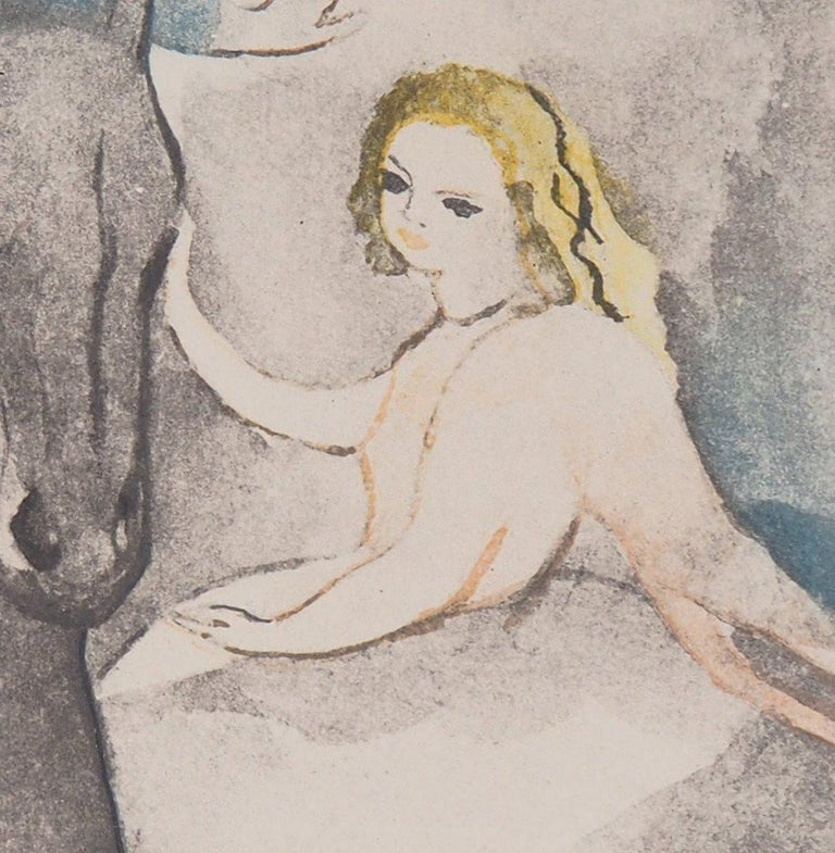 Marie LAURENCIN Rider and dancer, 1949  Color etching Printed signature in the plate On Arches vellum 38 x 28 cm (c. 15 x 11in)  INFORMATION : Created by Laurencin and engraved by Louis Maccard for the portfolio