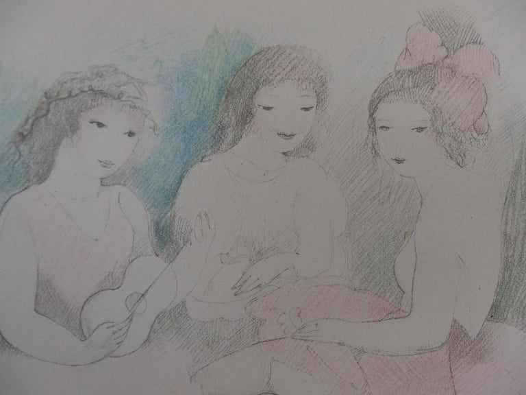 Three Girls Playing Music - Stone Lithograph - 1928 - Gray Figurative Print by Marie Laurencin