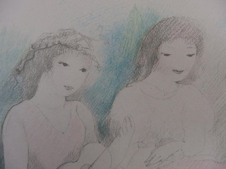 Marie LAURENCIN Three Girls Playing Music (1928)  Stone Lithograph Printed in Atelier Mourlot Printed signature in the plate On China paper 31 x 42 cm (c. 12 x 17