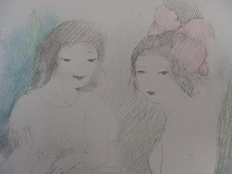 Three Girls Playing Music - Stone Lithograph - 1928 For Sale 1
