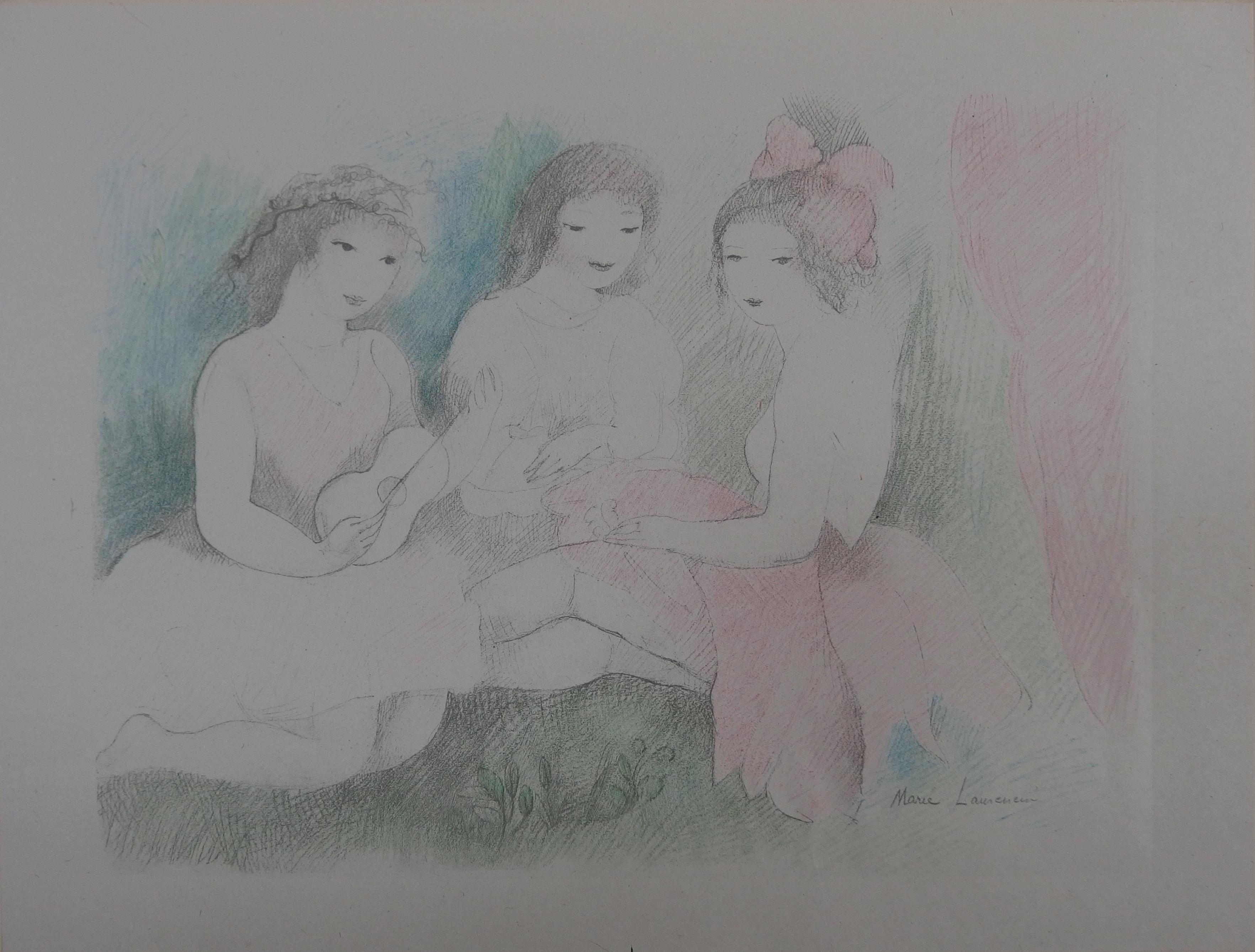 Three Girls Playing Music - Stone Lithograph - 1928