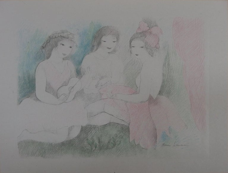 Marie Laurencin Figurative Print - Three Girls Playing Music - Stone Lithograph - 1928
