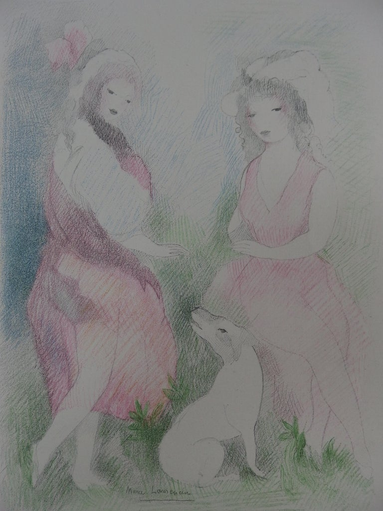 Two Girls with a Dog - Stone Lithograph - Mourlot, 1928 - Realist Print by Marie Laurencin