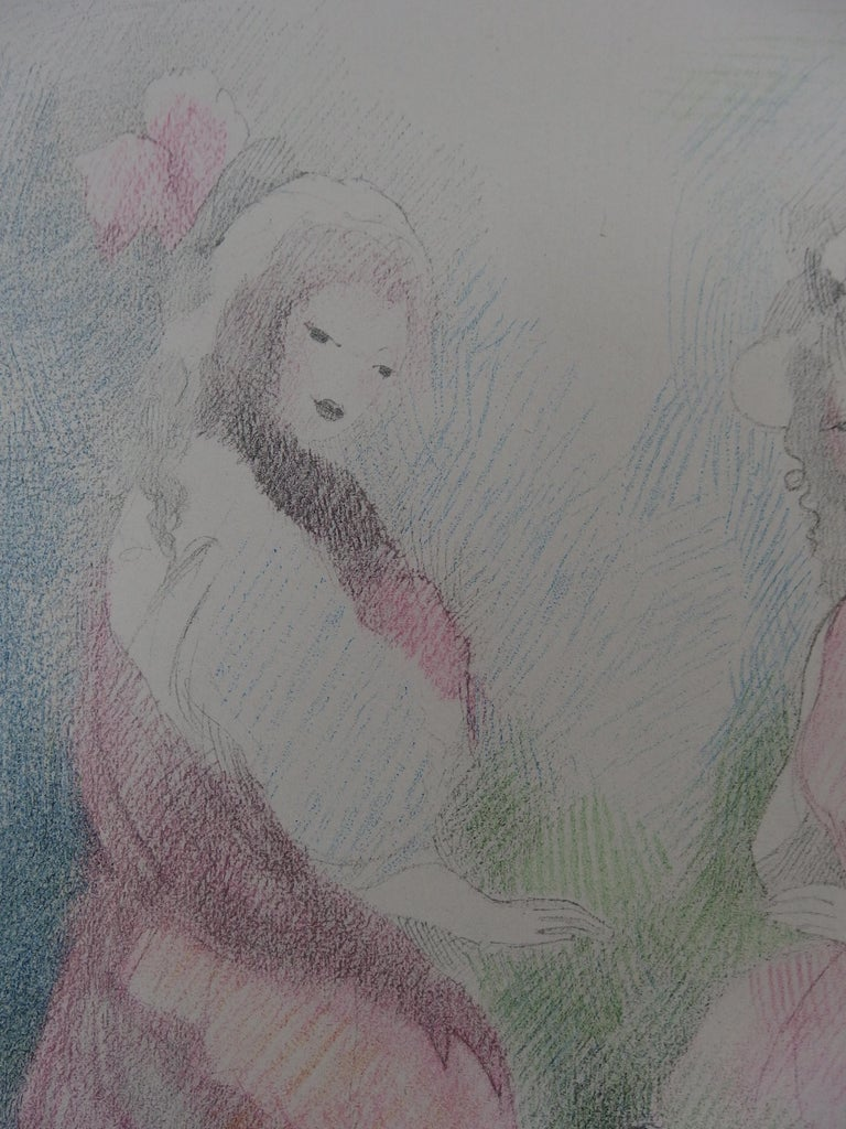 Two Girls with a Dog - Stone Lithograph - Mourlot, 1928 - Gray Figurative Print by Marie Laurencin