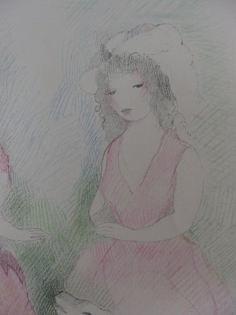 Two Girls with a Dog - Stone Lithograph - Mourlot, 1928 For Sale 1
