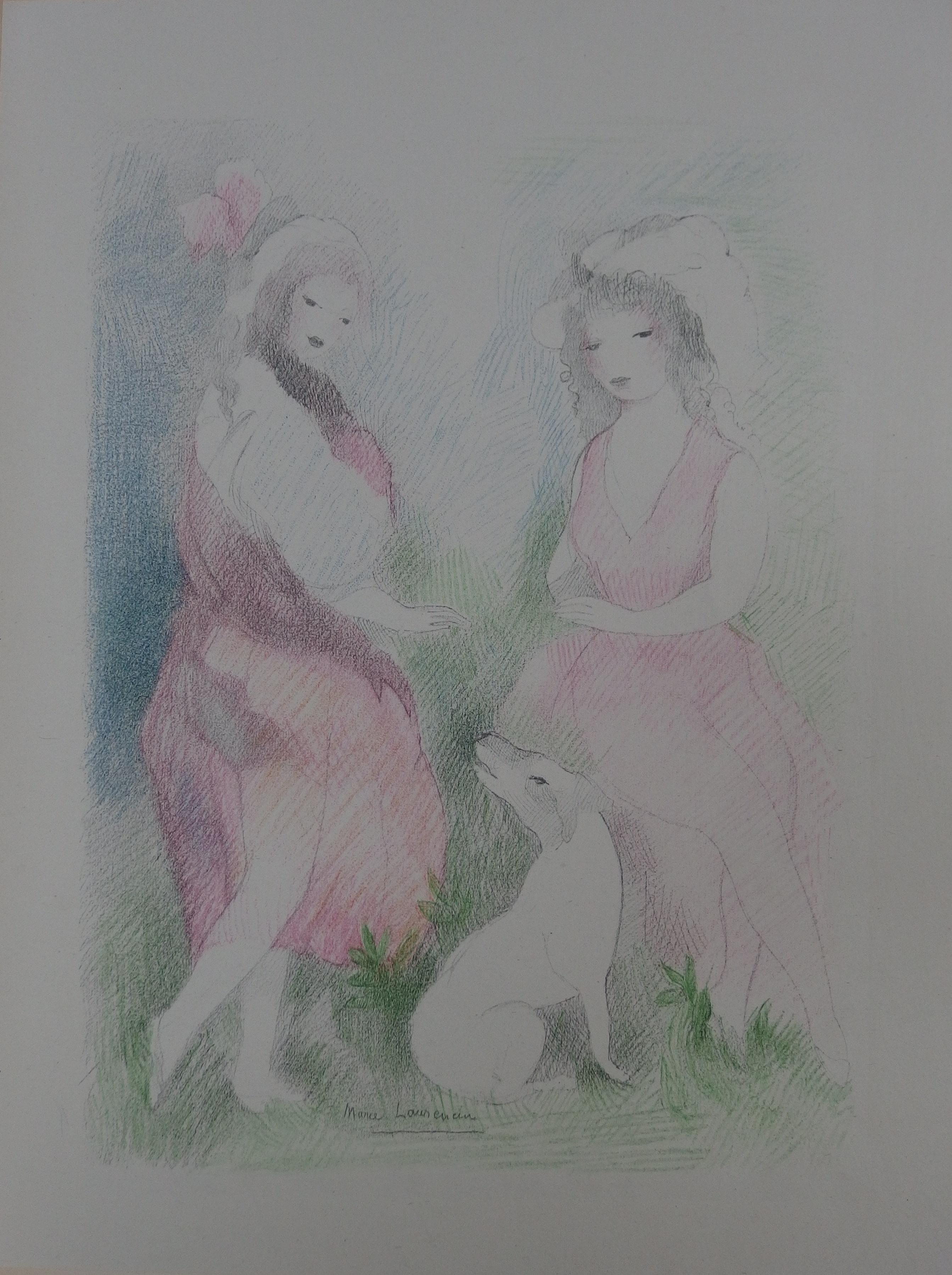 Two Girls with a Dog - Stone Lithograph - Mourlot, 1928